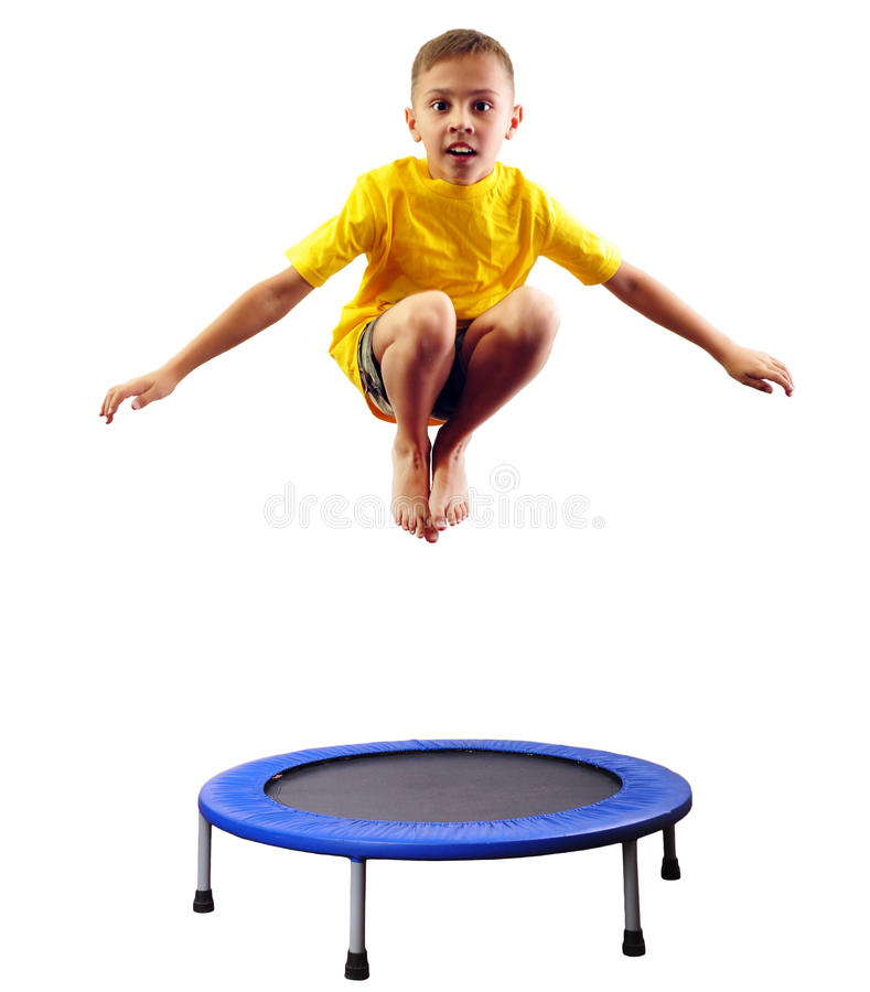 Kid Trampoline Lafayette: Cute Boy Exercising And Jumping On A Trampoline Stock