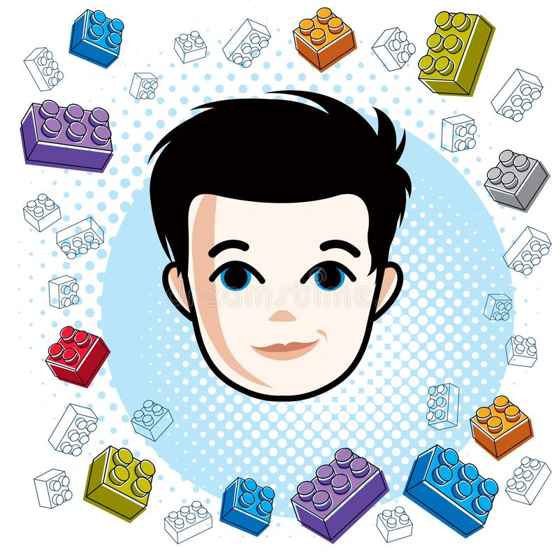 Cute boy face, human head. Vector brunet character, toddler face. Features, clipart stock illustration