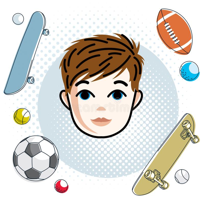 Cute boy face, human head. Vector redhead character, toddler face features, sport and entertainment clipart. royalty free illustration