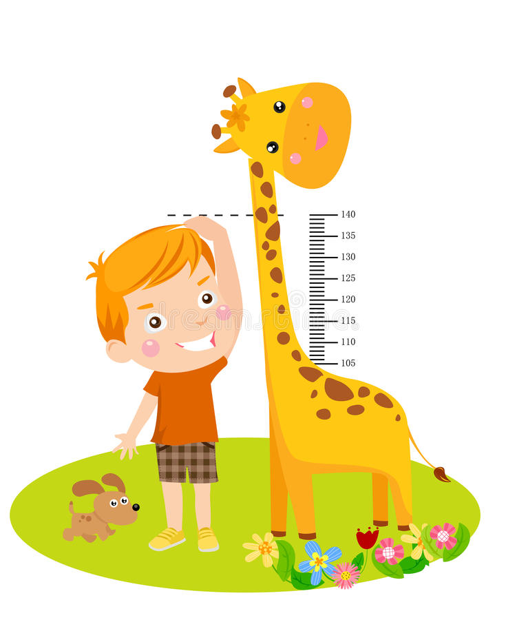 Cute boy and giraffe. Illustrated isolated image royalty free illustration