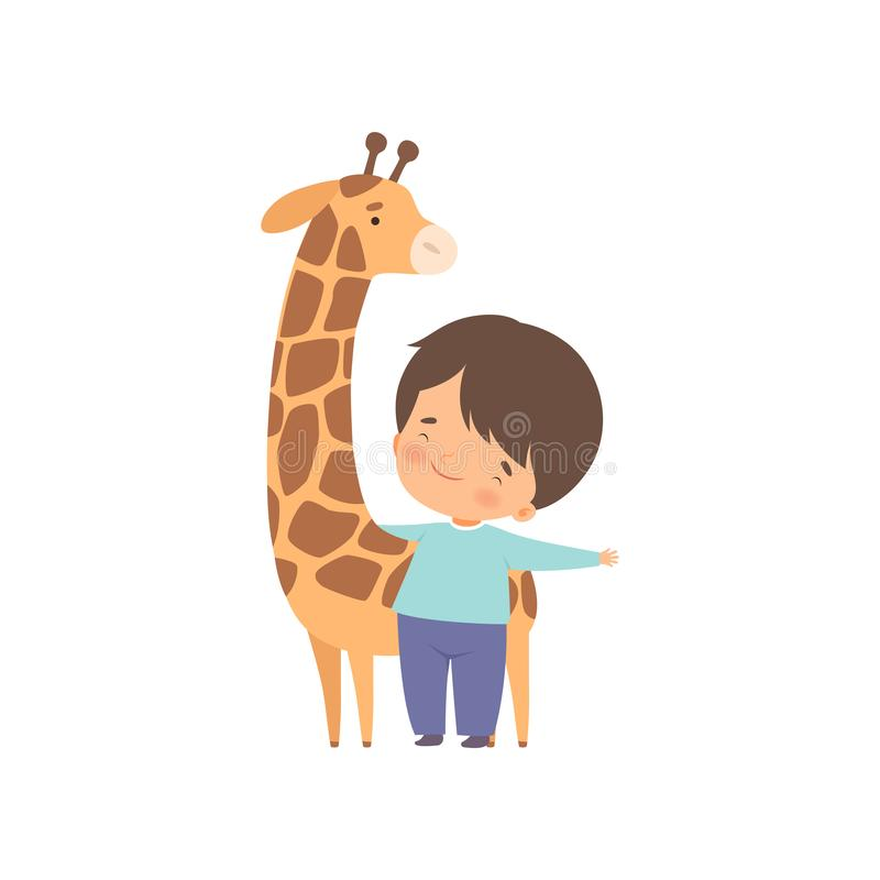 Cute Boy with Giraffe, Kid Interacting with Animal in Contact Zoo Cartoon Vector Illustration. On White Background stock illustration