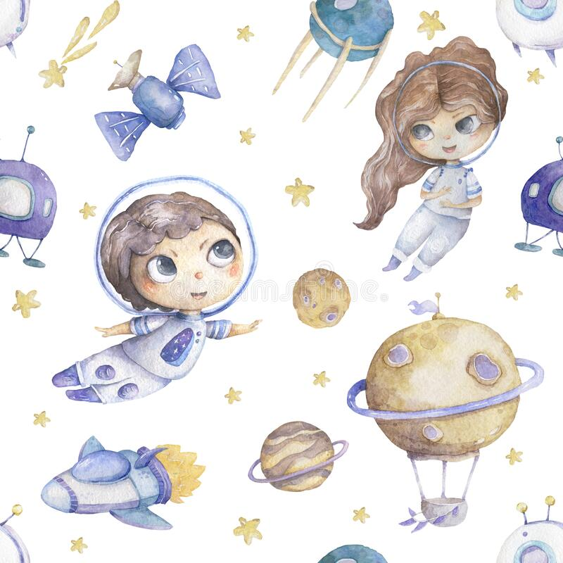 Cute boy and girl astronaut with rocket and planets background seamless pattern watercolor colorful cosmic kid cartoon vector illustration