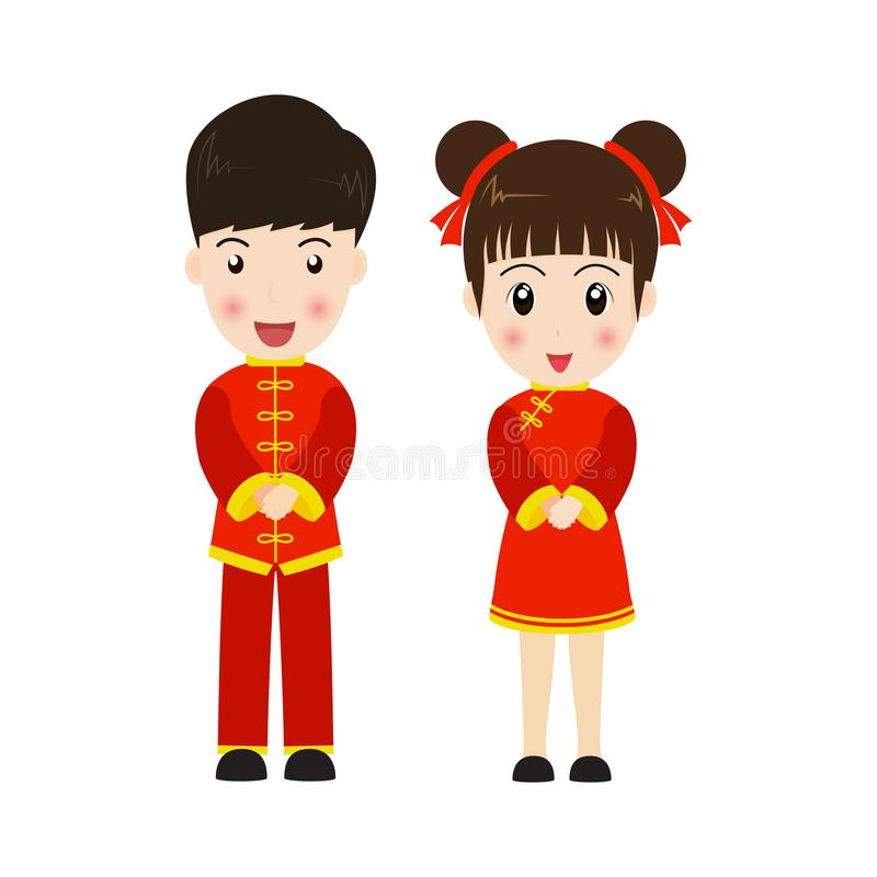 Cute boy and girl in Chinese costume. Isolated on white background royalty free illustration