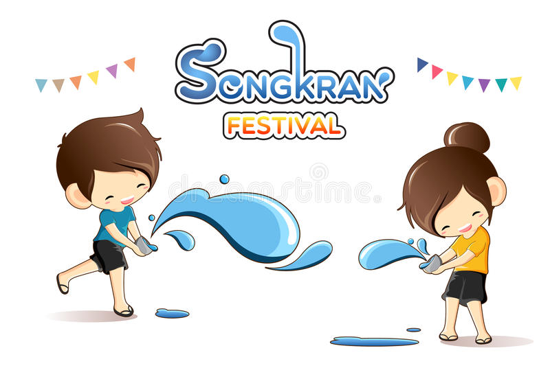 Cute boy and girl enjoy splashing water in Songkran festival, Thailand. Vector Illustration stock illustration