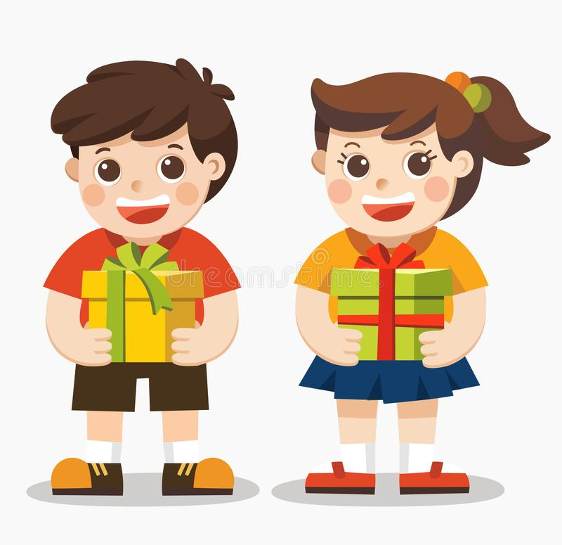 Cute boy and girl holding big ribbon bow wrapped gift box. vector illustration