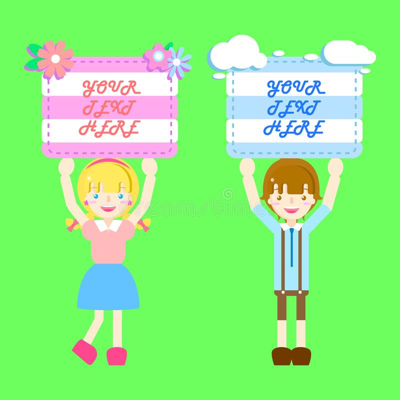 Cute boy and girl holding label blank paper speech bubble balloon stock illustration
