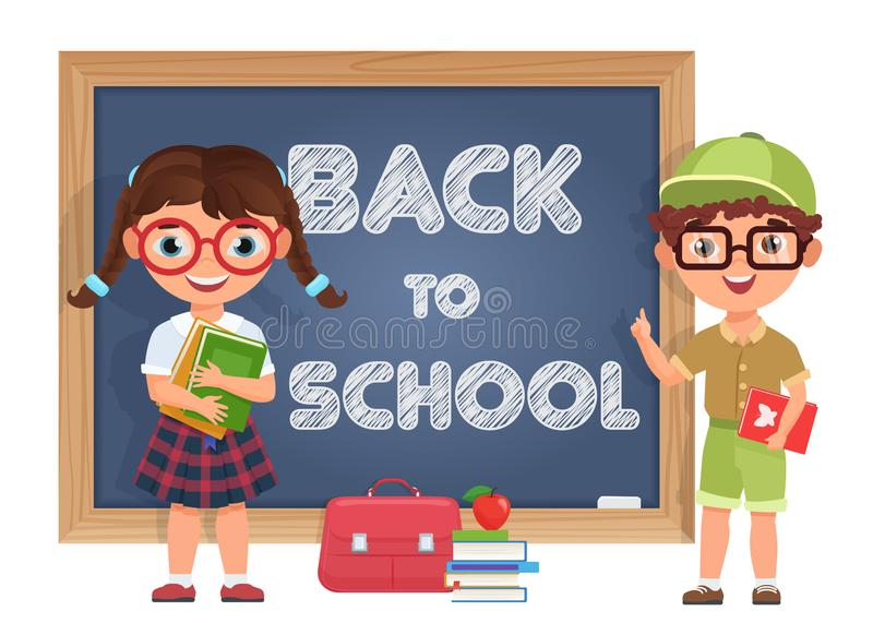 Cute Boy and girl kids. Back to School isolated cartoon characters near blackboard. Vector illustration for a school vector illustration