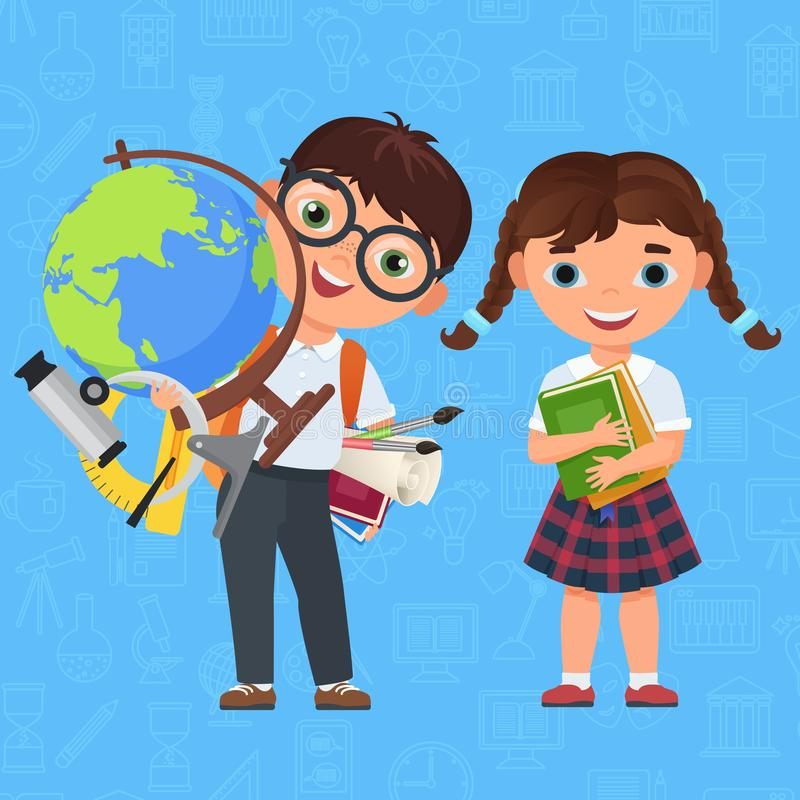 Cute Boy and girl kids. Back to School isolated cartoon characters. Vector illustration for a school books, flyer royalty free illustration