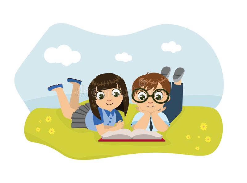 Cute Boy and Girl Lying on Lawn and Reading Book Vector Illustration. Web Design stock illustration