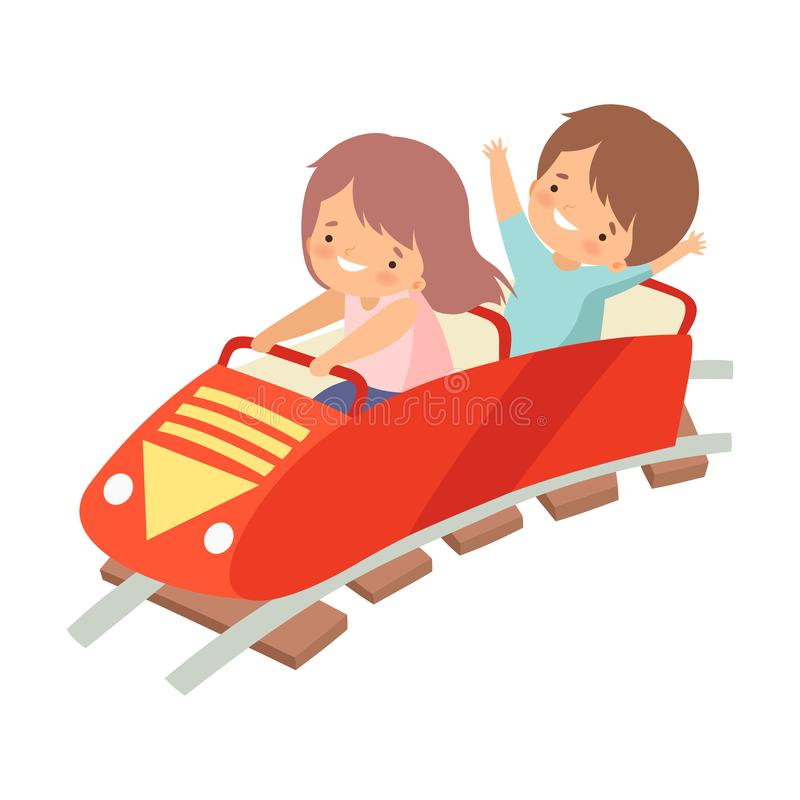 Cute Boy and Girl Riding on Roller Coaster Car, Happy Kid Having Fun in Amusement Park Vector Illustration. On White Background vector illustration