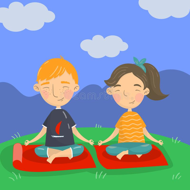 Cute boy and girl sitting on the floor in a lotus position and meditating, kids yoga vector illustration, cartoon style. Colorful design element for poster or stock illustration