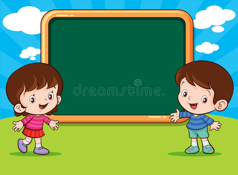 Cute Boy and Girl standing present stock illustration