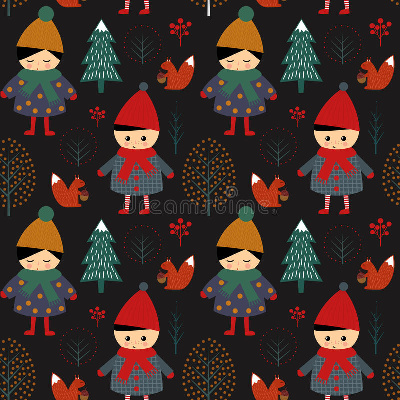 Cute boy and girl walking in winter forest seamless pattern on black background. royalty free illustration