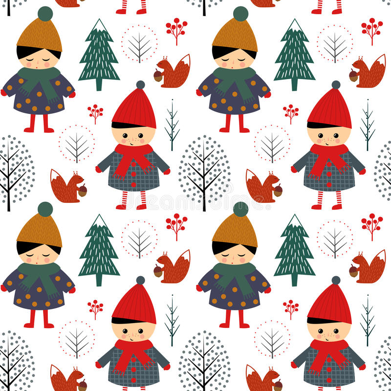 Cute boy and girl walking in winter forest seamless pattern. vector illustration