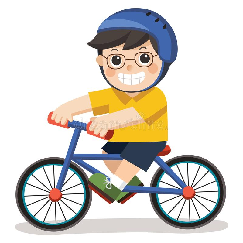 A Cute Boy with glasses. He riding a bicycle. stock illustration