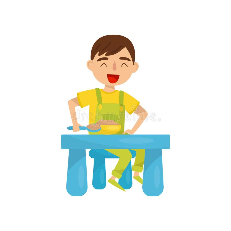 Cute boy having breakfast, kids activity, daily routine vector Illustration on a white background. Cute boy having breakfast, kids activity, daily routine vector stock illustration