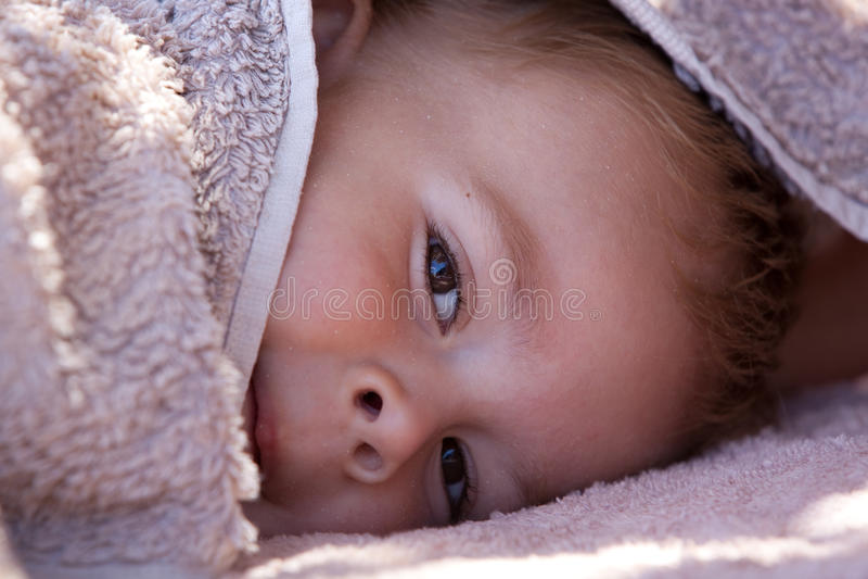 Download Cute Boy Hiding Under Towel Royalty Free Stock Image - Image: 11149256