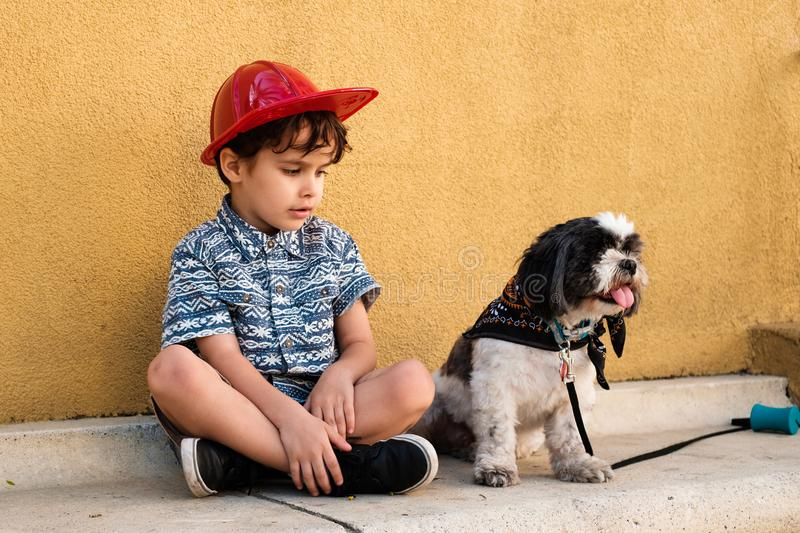 Cute boy with his dog royalty free stock photography