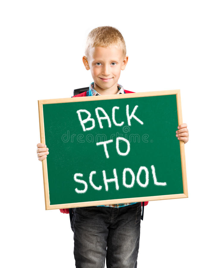 Download Cute Boy Holding A Sign Saying Back To School Stock Image   Image  Of Male