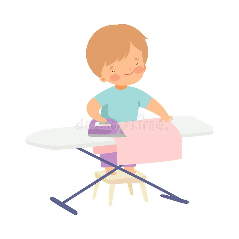 Cute Boy Ironing Clothes on Board, Adorable Kid Doing Housework Chores at Home Vector Illustration. On White Background vector illustration