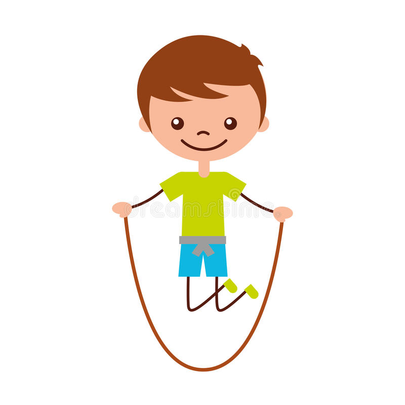 Cute boy jumping rope character icon. Vector illustration design royalty free illustration