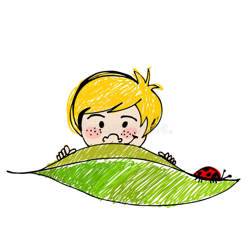 Cute Boy With Leaf Royalty Free Stock Images