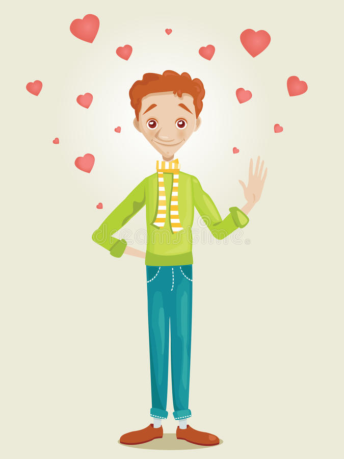 Download Cute boy in love stock vector. Image of character, romance - 23130796