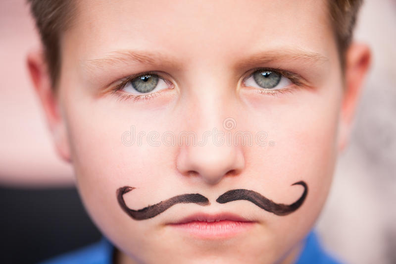 Download Cute Boy With Painted Mustache Stock Photo - Image: 33680578