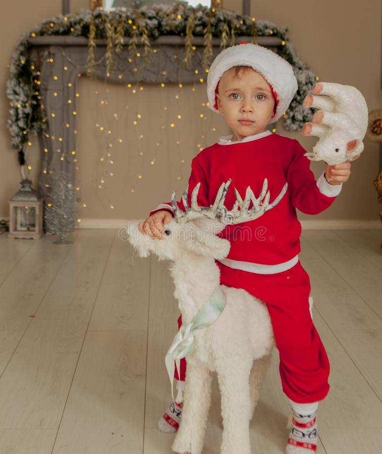 Cute boy with a pig sitting on a decoration deer on a New Year`s carousell, New Year`s and Christmas photo royalty free stock photo