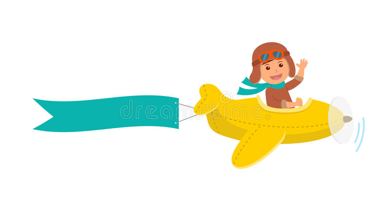 Cute boy pilot flies on a yellow plane in the sky. Air adventure. Isolated cartoon vector illustration.  royalty free illustration