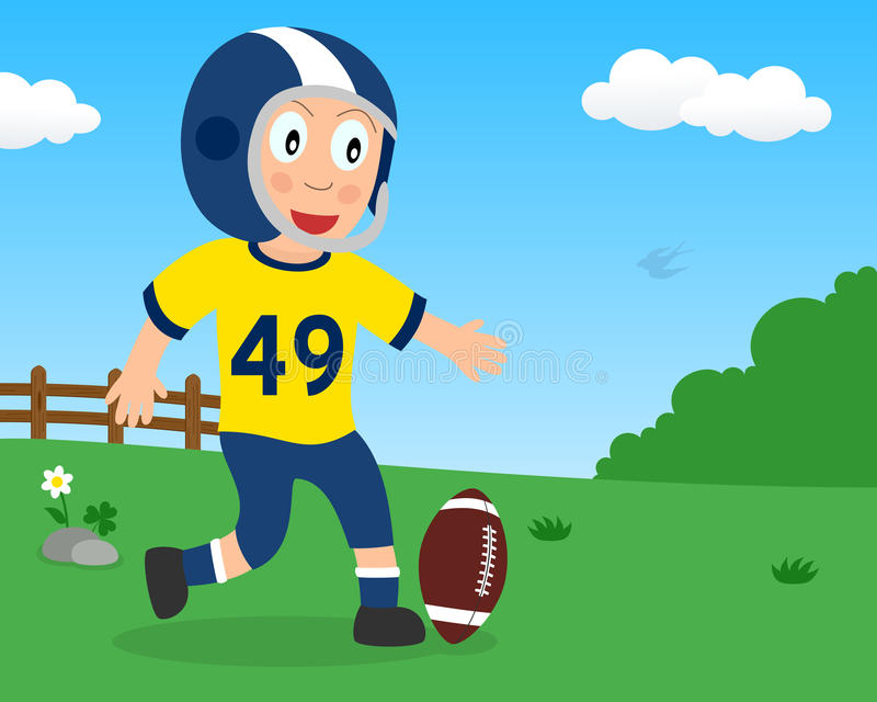 Cute Boy Playing Football in the Park royalty free stock image