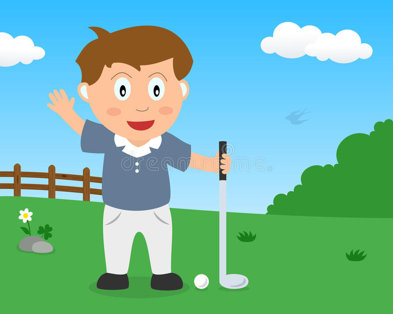 Cute Boy Playing Golf in the Park stock image