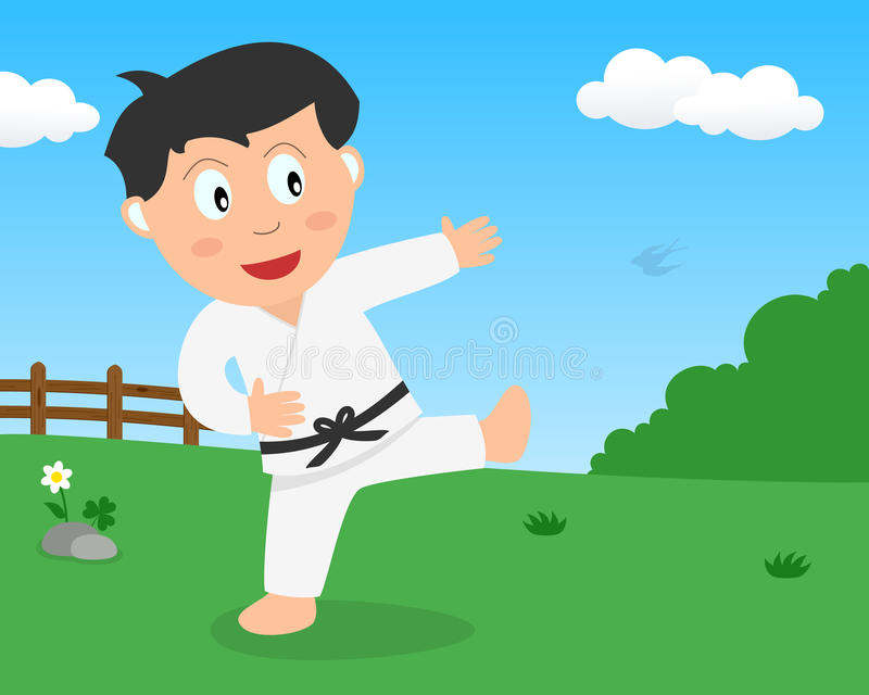 Cute Boy Playing Karate in the Park stock image