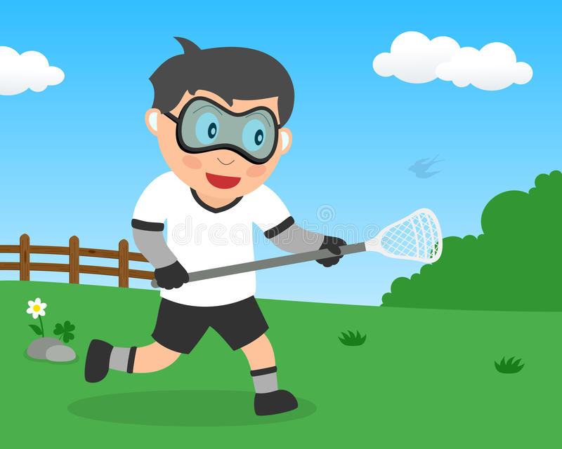 Cute Boy Playing Lacrosse in the Park royalty free stock images