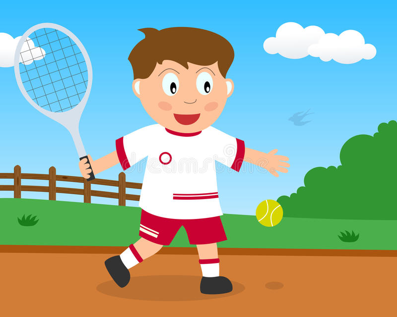 Cute Boy Playing Tennis in the Park royalty free stock photos