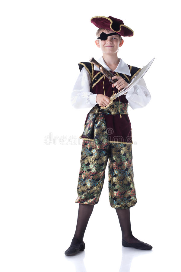 Cute boy posing in pirate costume with eye patch stock image