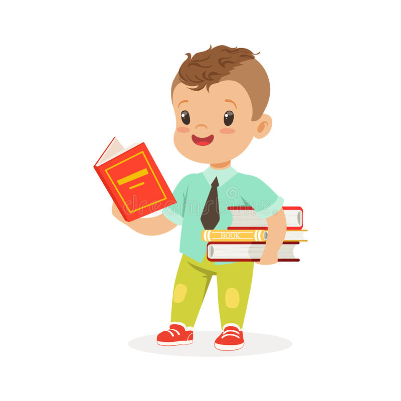Cute boy reading a book while standing and holding books, kid enjoying reading, colorful character vector Illustration. On a white background vector illustration