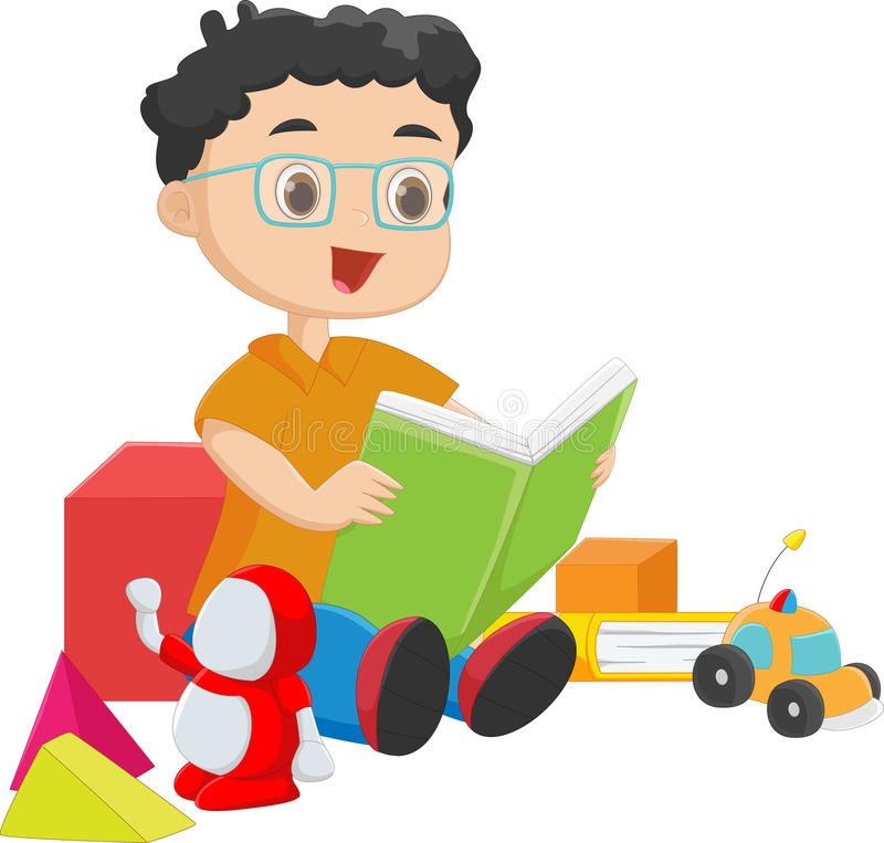Cute boy reading a book with toys stock illustration