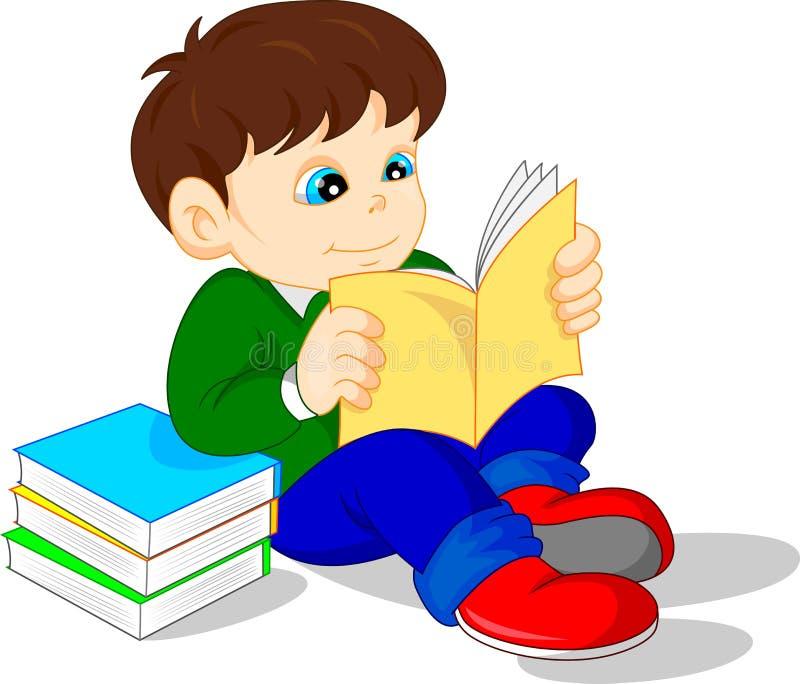 Cute boy reading books royalty free illustration