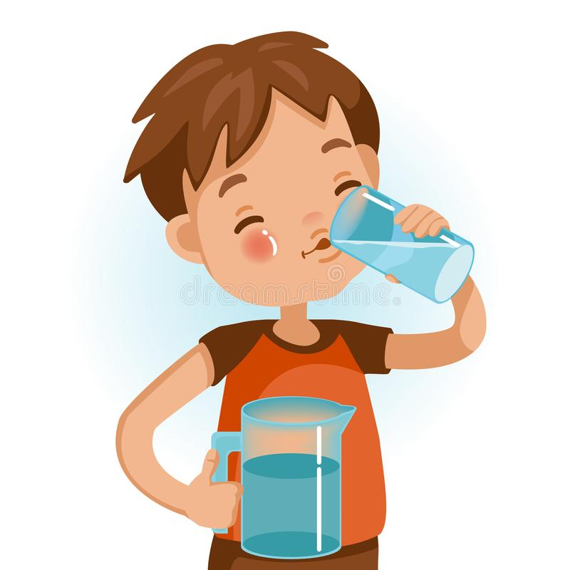 Drink Water. Cute boy in red shirt holding glass of kid drinking water. Emotionally be smile. Healthy concepts and crowth in child cutrition. Vector Illustration stock illustration