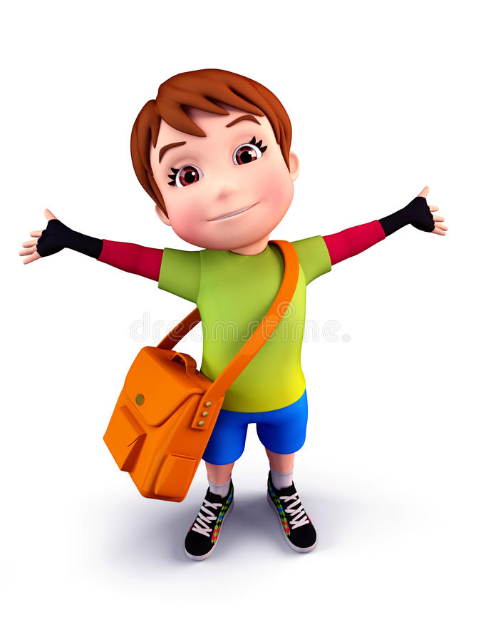 Download Cute Boy With School Bag Royalty Free Stock Photos - Image: 24515848