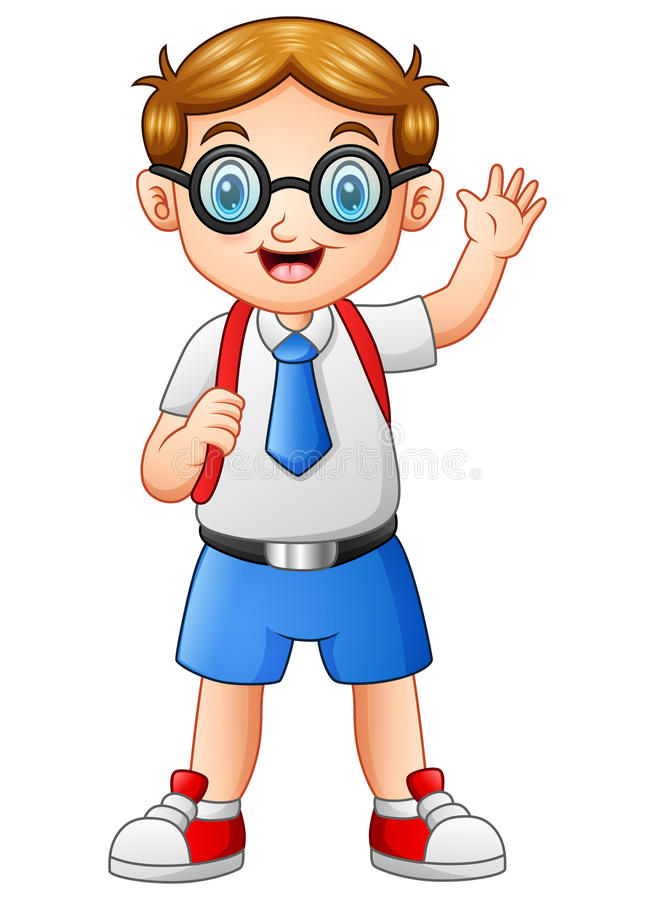 cute boy in a school uniform waving hand stock vector illustration rh dreamstime com school uniform uk clipart school uniforms clip art