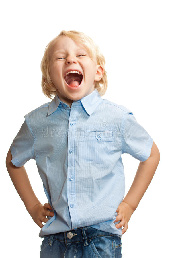 Download Cute Boy Screaming And Laughing Stock Image - Image of mood, portrait: 23095821