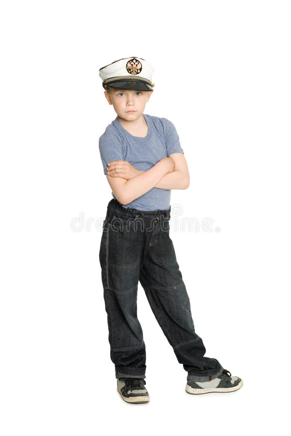 Cute Boy In A Sea Cap Royalty Free Stock Photo