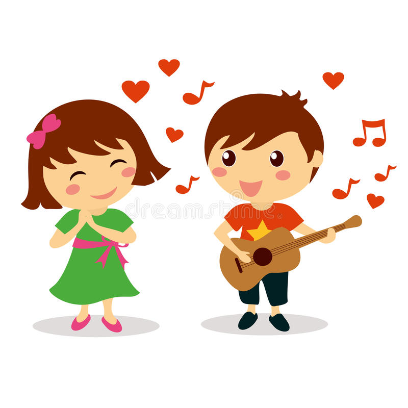 Cute boy singing a love song to beautiful smiling girl. For valentine day stock illustration