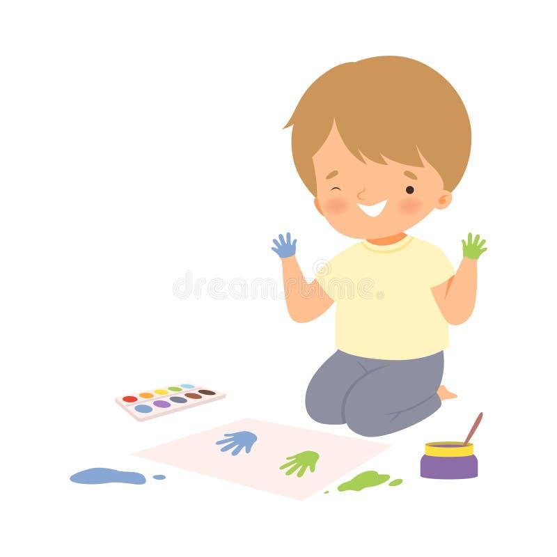 Cute Boy Sitting auf dem Boden Malerei mit farbigen Handdrucken, Adorable Young Artist Cartoon Charakter, Kids Creative stock abbildung