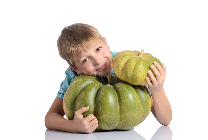 Cute boy sitting with different pumpkins. On halloween or thanksgiving harvest festival or patch on white background royalty free stock photos