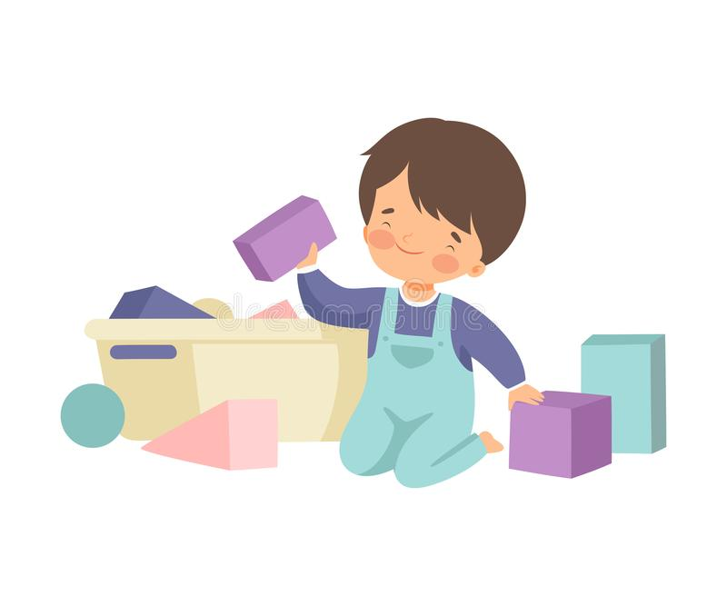 Cute Boy Sitting on Floor and Cleaning Up His Toys, Kid Doing Housework Chores at Home Vector Illustration. On White Background vector illustration