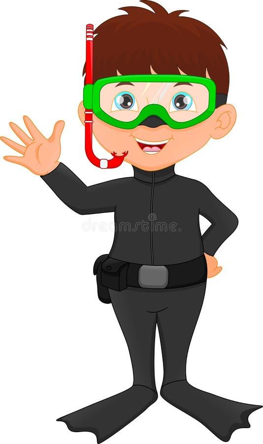 Free Cute Boy Snorkeling Waving Royalty Free Stock Image - 102335916