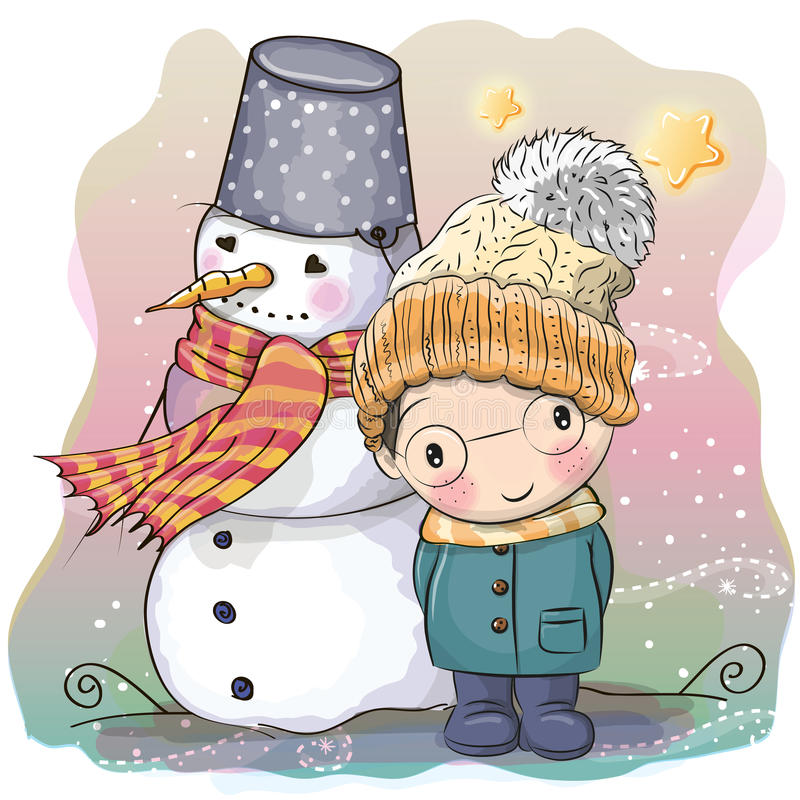 Cute Boy and snowman. Cute Cartoon Boy in a knitted cap and a coat and snowman stock illustration